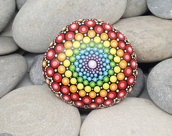 Chakra Painted Rock Mandala Stone - Rainbow Stone - Hand-Painted Meditation Mandala Rock - Home Decor - Mandala Art - Rainbow Painted Stone