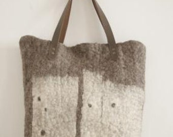 Large wet felted tote bag in beige and off-white real laether handles