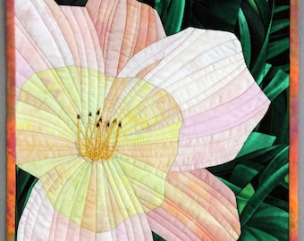 Day Lily, 12x12 inches, Small Art Quilt by Susan Damone Balch, Hand dyed fabrics