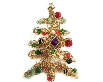 1960s Gold Tone Wire Multicolored Plastic Lucite Beads Handcrafted Christmas Tree Mid Century Vintage Xmas Holiday Pin Brooch