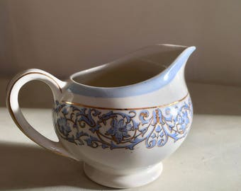 Gorgeous J & G Meakin Creamer Milk Jug White Blue Gold Made in England