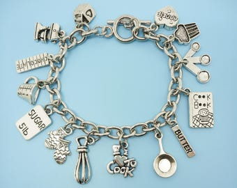 I Love to Cook Charm Bracelet Silver Tone Gift for Chef Baker Cook