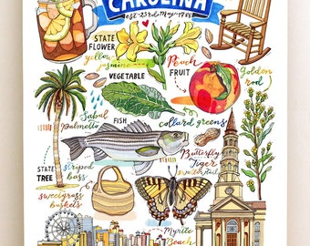 South Carolina Print, State symbols, Illustration, The Palmetto State, Sweet tea, Charleston, Myrtle Beach.