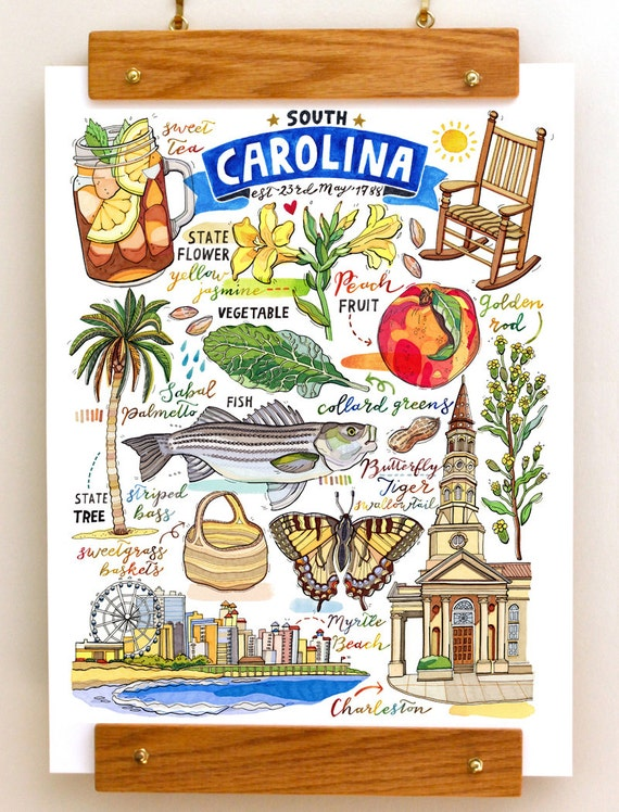 South Carolina Print State Symbols Illustration The
