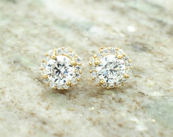 14k yellow gold solitaire cz lab created diamond pair of earrings