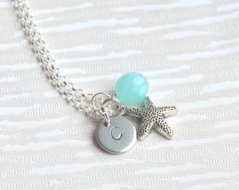 Beach wedding Starfish necklace Personalized Bridesmaid jewelry Bridesmaid gift initial and sea star Flower girl jewelry Bridesmaid Necklace