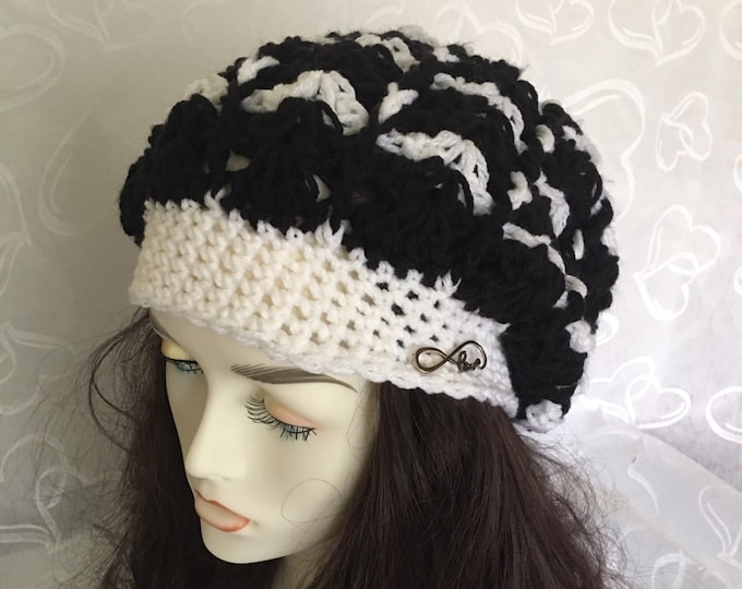 Slouchy Hat-Crocheted Hat-Women's Warm Hats-Mens Hats-Winter Hat-Black and White Cap-Newsboy Hat-Love Jewelry