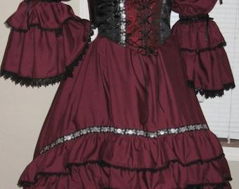 DDNJ Choose Fabric Burlesque Victorian Steampunk Style 3pc Plus Custom Made ANY Size Renaissance Goth Pirate Vampire Wedding Cosplay Costume
