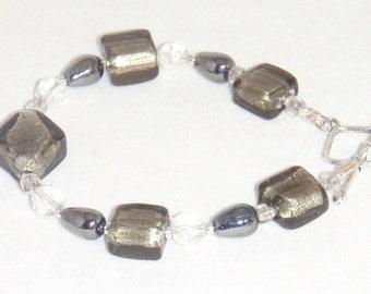 Silver Filled Grey Geometric Beads Bracelet