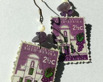 South Africa UpCycled Postage Stamp Earrings Wine Estate