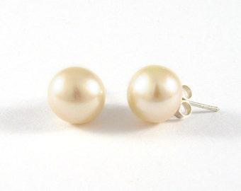 Pearl Stud Earings 10mm., Freshwater Pearl Stud Earrings, Classic Earrings, Rose Pearl Earings,