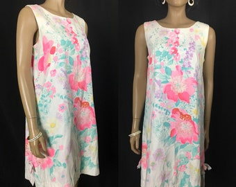 Floral Plus Size Dress White Pastel Summer Vintage 1960s Sheath Resort Wear Sleeveless L XL Made in USA