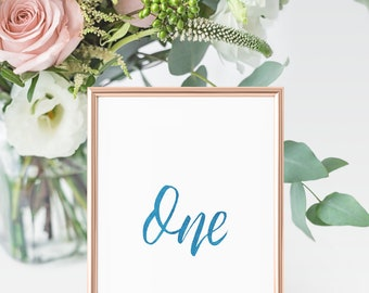 Wedding Table Number Signs | Table Signage | Calligraphy Table Wedding Signage | Table Numbers | Watercolor Calligraphy Table Number