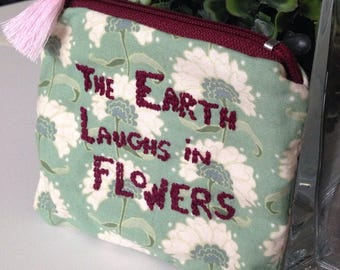 Large light green and ecru flowers wallet