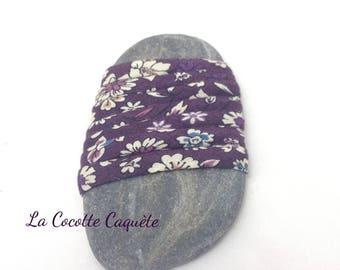 Spaghetti - cheerleading - purple, white flowers, 7 mm x 64 cm cord