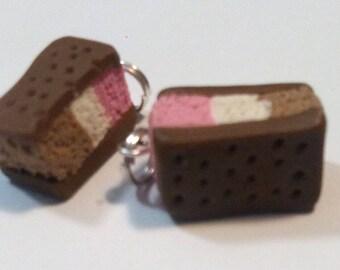 Ice Cream Sandwich Polymer Clay Charm
