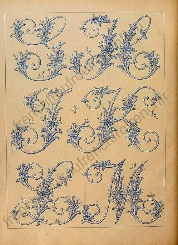 Antique french victorian alphabet letters embroidery pattern