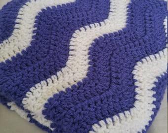 Dark Purple and White Crochet Chevron Baby Blanket