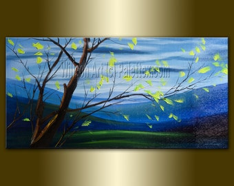 Original Landscape Painting Oil on Canvas Textured Palette Knife Contemporary Modern Art Seasons 18X36 by Willson Lau