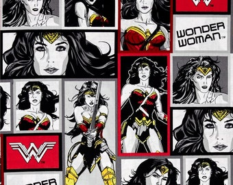 "Wonder woman black/white/red by camelot fabrics, By the Half Yard, 42"" wide, 100% cotton, dc comics, WW fabric, justice league"