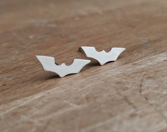 Featured listing image: Batman Inspired Tiny Sterling Silver Stud Earrings - Geek, Superhero, Comics, DC