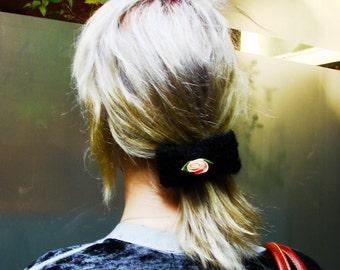 Sweater season black rose hair bow barrette