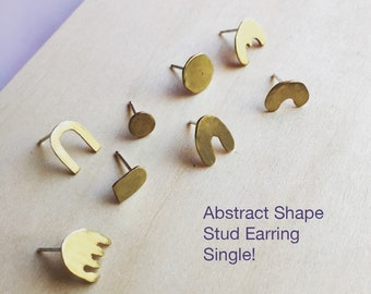 Single Abstract Shape Stud Earring (choose one)