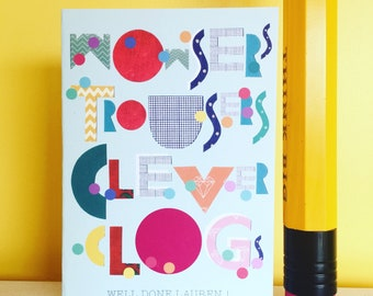 Wowsers Trousers- Personalised Well Done Card- Quirky Greetings Card- Funny Exam Results Card- Congratulations Card- Funny Well Done Card.