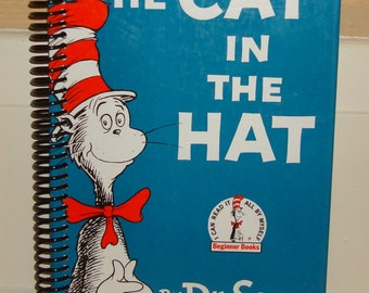 Dr. Seuss The CAT In The HAT , Upcycled Vintage Book into Journal/Sketchbook