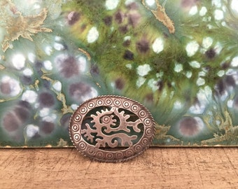 Sterling Silver Ozomatli Monkey Brooch / Oval / Mexican / Aztec / Pre-Columbian / Mexicolore / Vintage