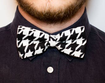 Houndstooth bow-tie in cotton