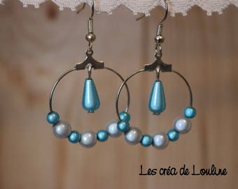 White and turquoise hoop earrings