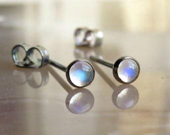 Rainbow Moonstone Post Earrings, Black Stud Earrings, Small Post Earrings, Oxidized Stud Earrings