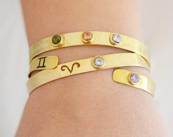 Birthstone Horoscope Cuff Bracelet / Sterling Silver Stamped Cuff / Custom Bracelet / Birthstone Cuff / Stamped Cuff / Personalized Jewelry