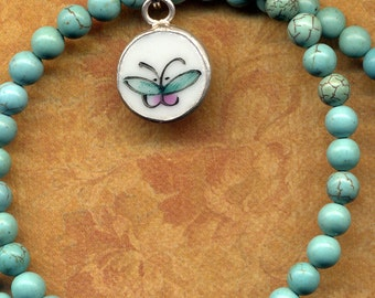 Dainty Petite Butterfly Necklace, Pink Turquoie Butterfly necklace, Old Pottery Dainty Necklace, Magnesite Necklace, Ming Pottery Style