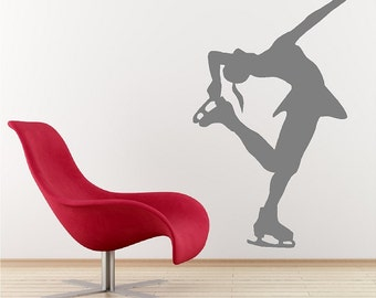 Ice Skater Decal Removable Ice Skating Wall Sticker