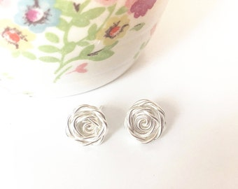 Rose Earrings, Sterling Silver Earrings, Rose Studs, Flower Earrings, Bridesmaid Earrings, Mothers Day, Wedding Jewelry, Rose Collection