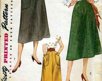 """Waist 26-1950's Misses' and Women's Skirt  """"Simple to Make"""" Simplicity 4179"""