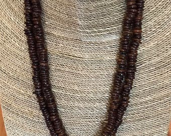 Double strand of rich, choclate brown tiger iron flat rondelle beads with a copper wire cross pendant