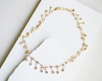 Choker, Crystal Choker, Gold Choker, Chokers, Choker Necklace, Dangle Choker, Layering Necklace, Simple Gemstone Necklace, Necklaces.