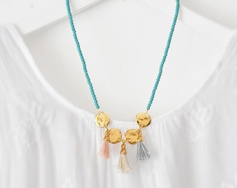 Boho Chic Tassels and Aqua Gemstone Beads Necklace
