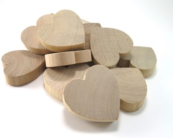 2 inch Unfinished Wood Hearts - Wooden Heart Cut Outs Wedding Favors