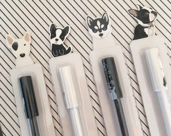Black And White Dog Gel Pens, Gel Pen, Dog, Dog Gel Pen, Stationery, Dog Stationery