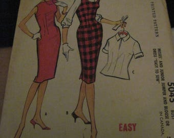 Vintage McCALL'S EASY SEW Pattern #5045...sz.12..Jumper & Blouse Dress ....1959....#29....