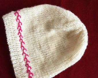 Hand knit Premie Hat