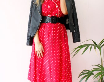 Vintage 80's Red Polka Dot Print Collared  A Line Tea Day Midi Dress