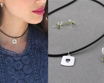 Open Heart Necklace Silver Unique Necklaces for Women Cut out Heart Necklace Heart Tag Necklace for Women Silver tag necklace for women