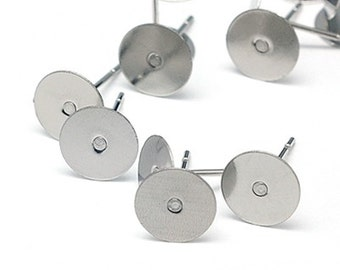 Silver stainless steel ear studs blanks for adhesive stones, 8 mm, different amounts of