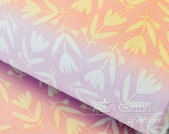 ORGANIC Cotton Blush/Pink Tulips print Fabric, Quilting Weight textile, Windham Fabrics, GOTS certified ORGANIC cotton
