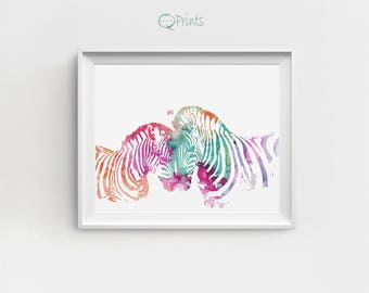 Zebra Art Print, Zebra Art, Zebra Decor, Zebra Printable, Digital Zebra, Large Wall Decor, Pink Blue, DIY Wall Art, Zebra Painting